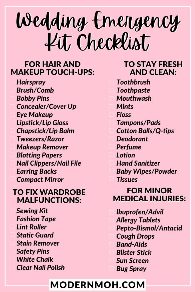 wedding emergency kit checklist