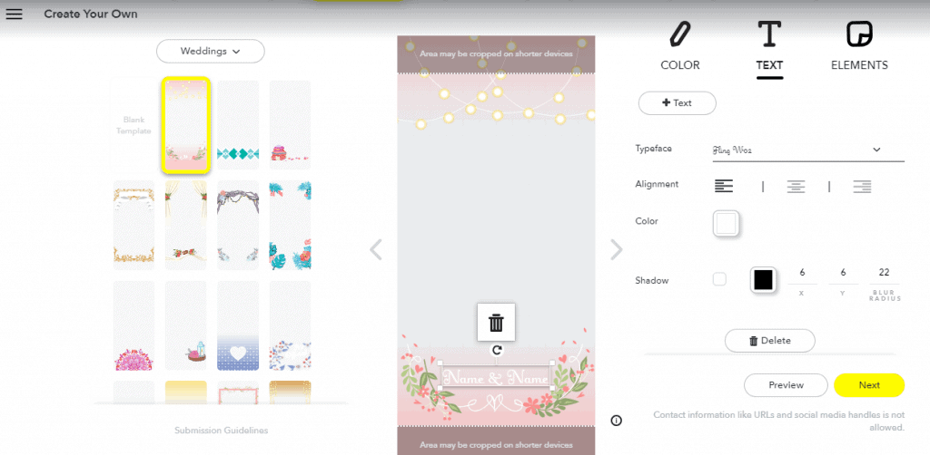 Snapchat filter design page