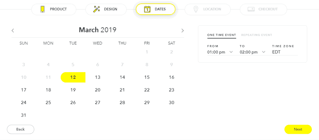 Snapchat filter date and time page