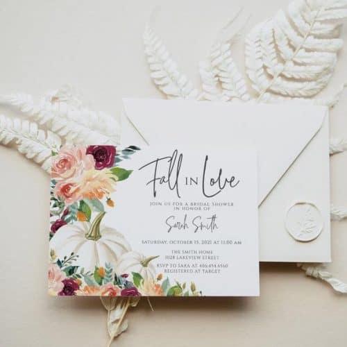 fall bridal shower invitation