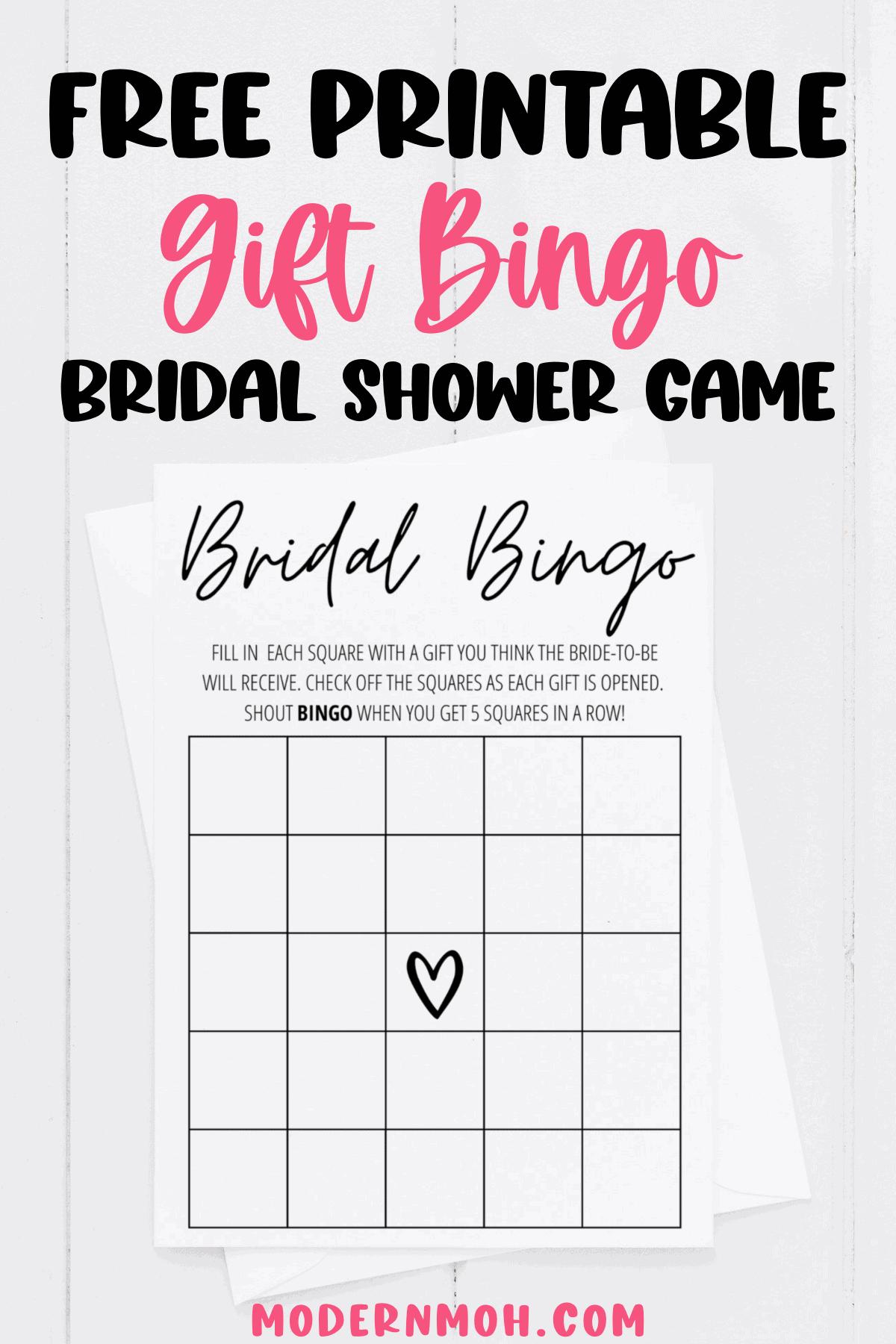 Bridal Shower Bingo Free Printable