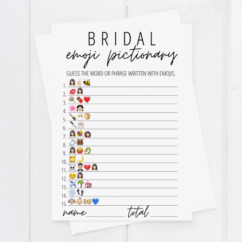 bridal emoji game printable