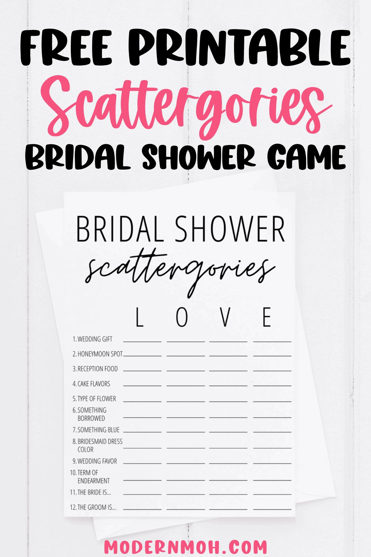 Bridal Shower Scattergories Free Printable