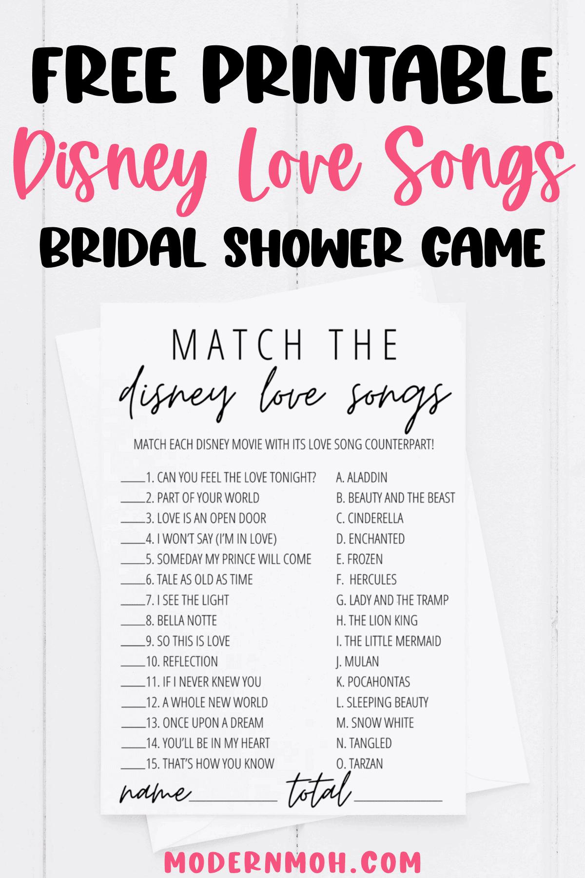 Disney Love Songs Game Free Printable