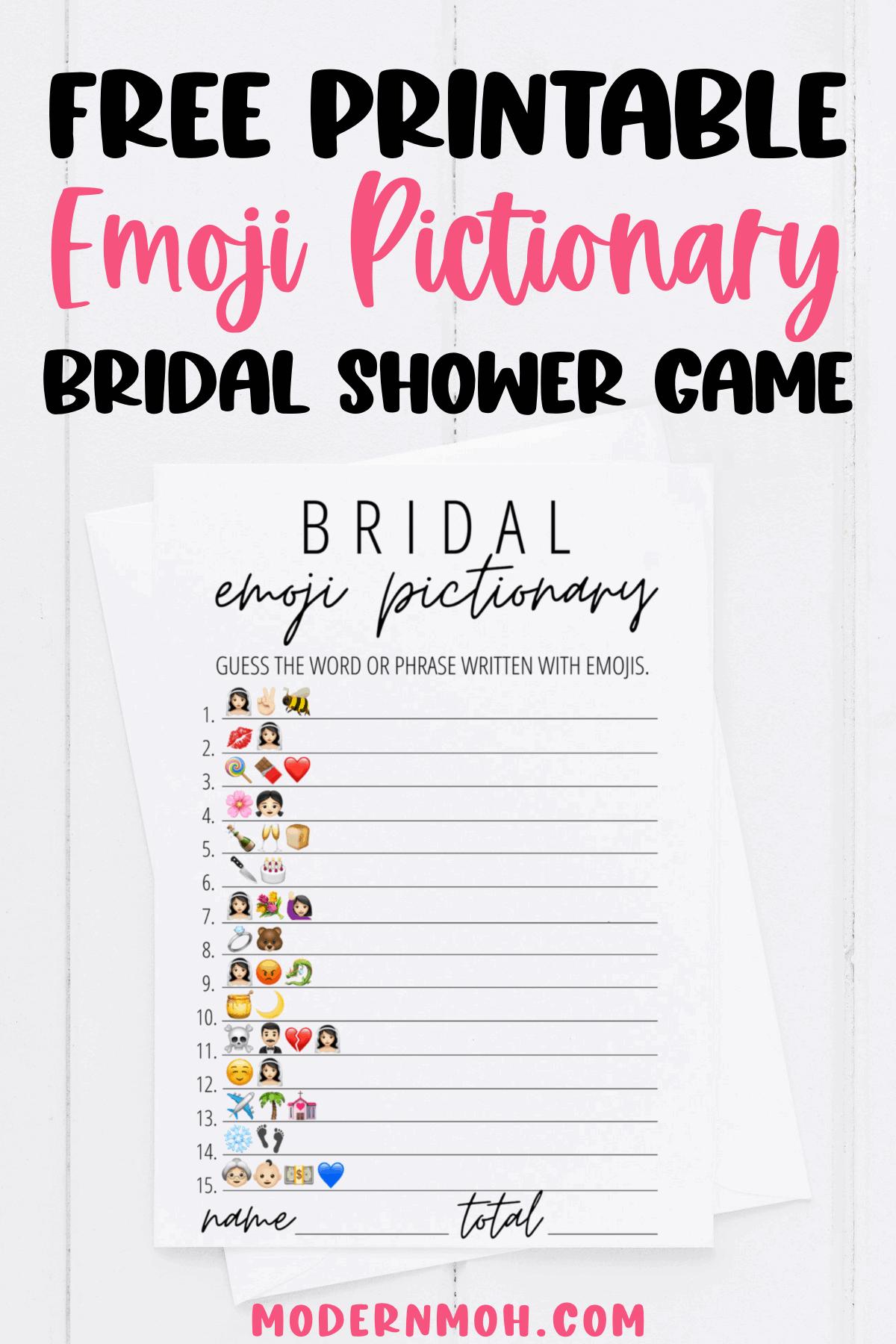 Bridal Emoji Pictionary Free Printable