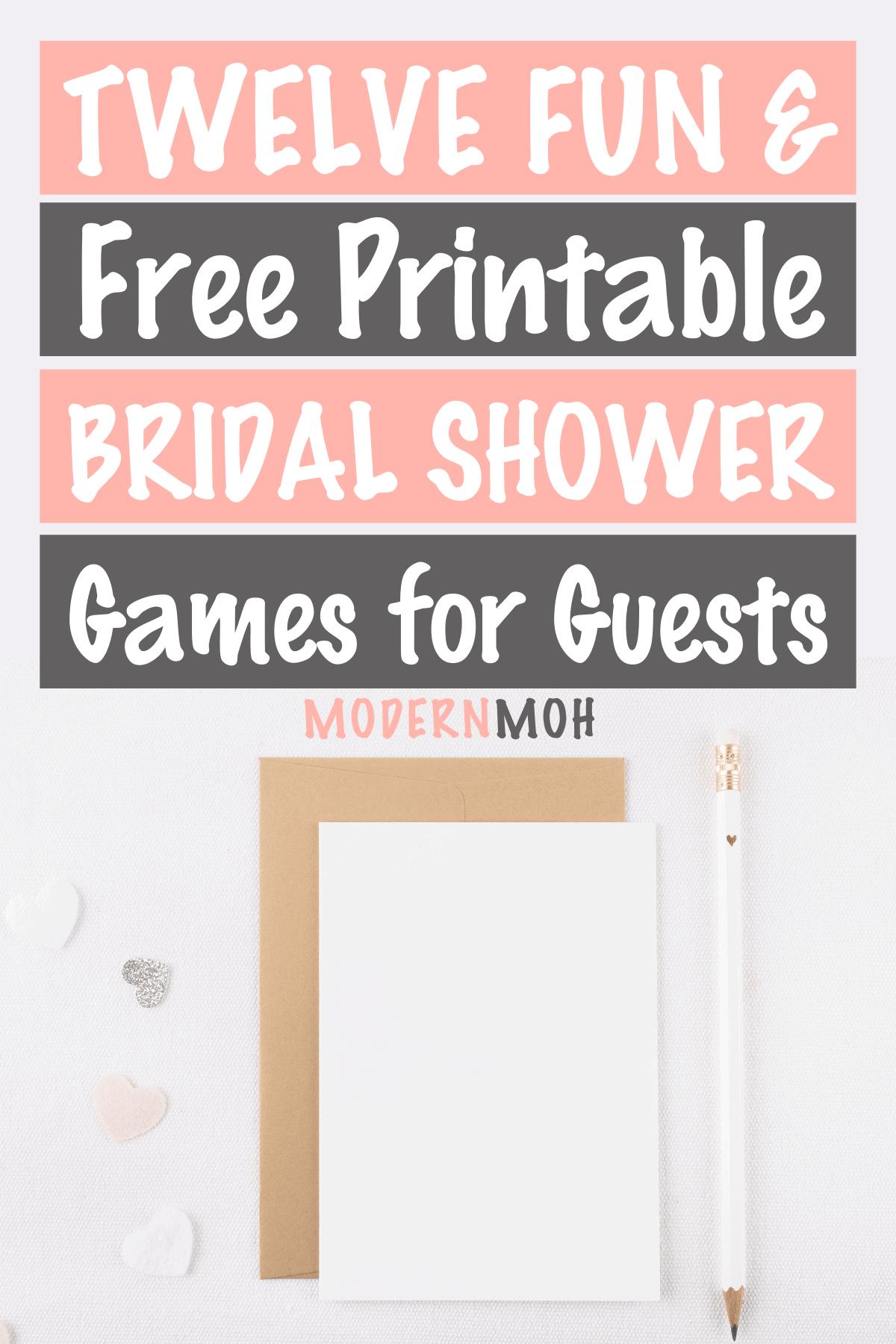 12 Free Printable Bridal Shower Games