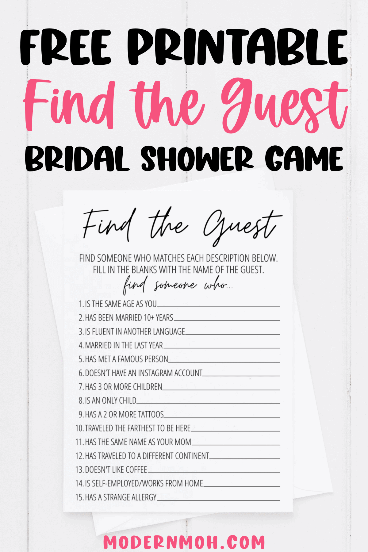 Find the Guest Bridal Shower Game Free Printable