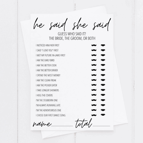 he said she said bridal shower game printable