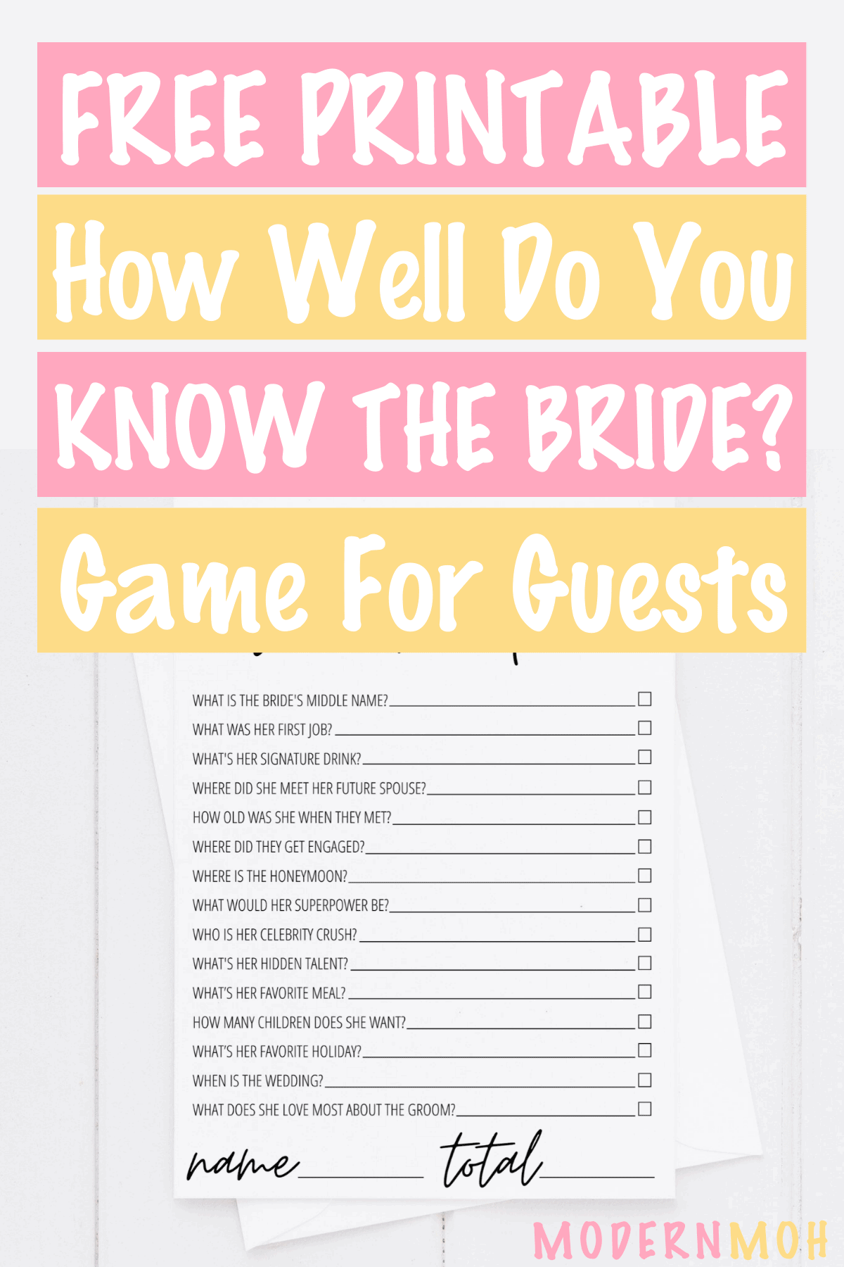 How Well Do You Know the Bride? Free Printable