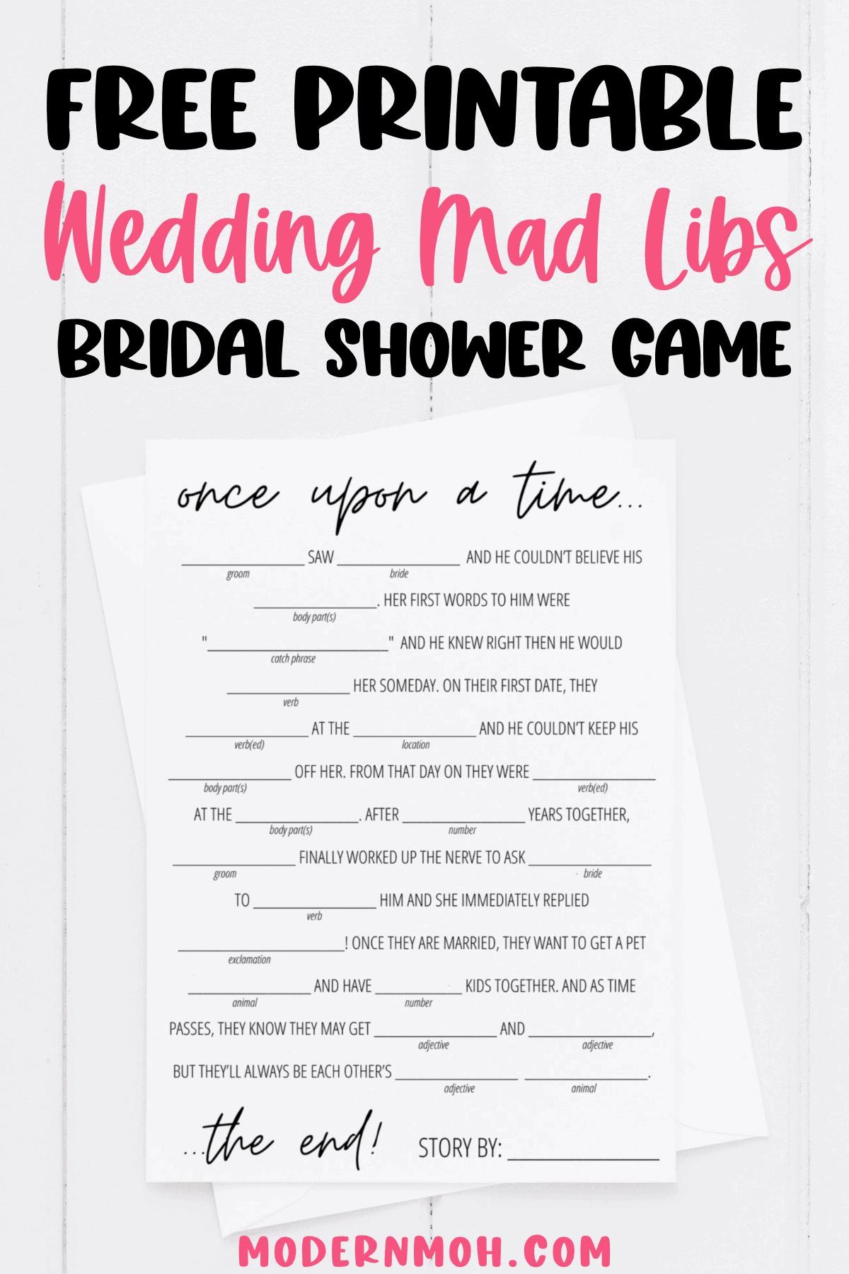 Bridal Shower Mad Libs Free Printable