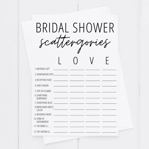 bridal shower scattergories printable