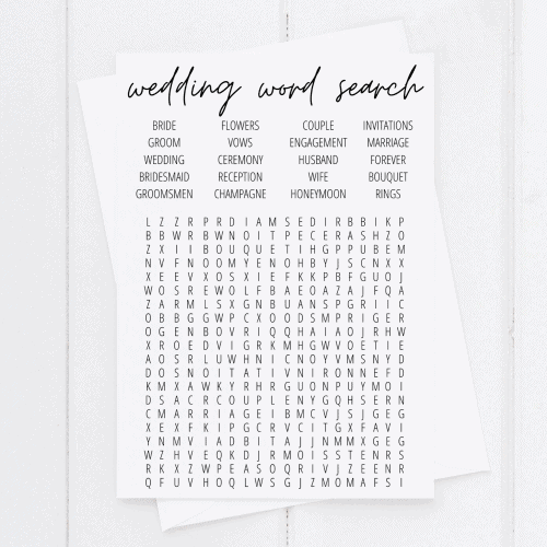 wedding word search printable
