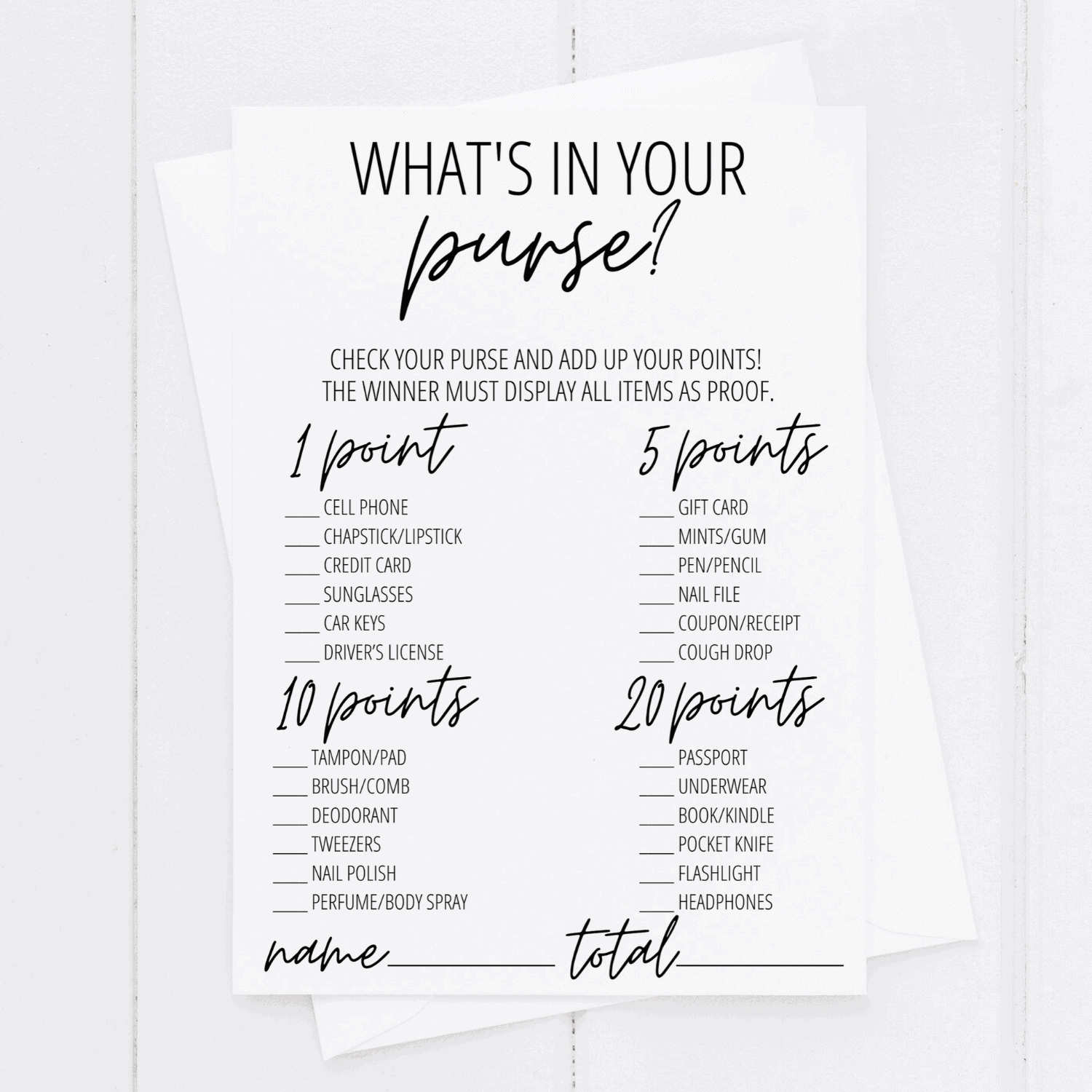 whats in your purse bridal shower game printable