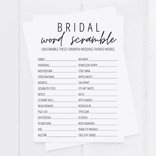 bridal shower word scramble printable