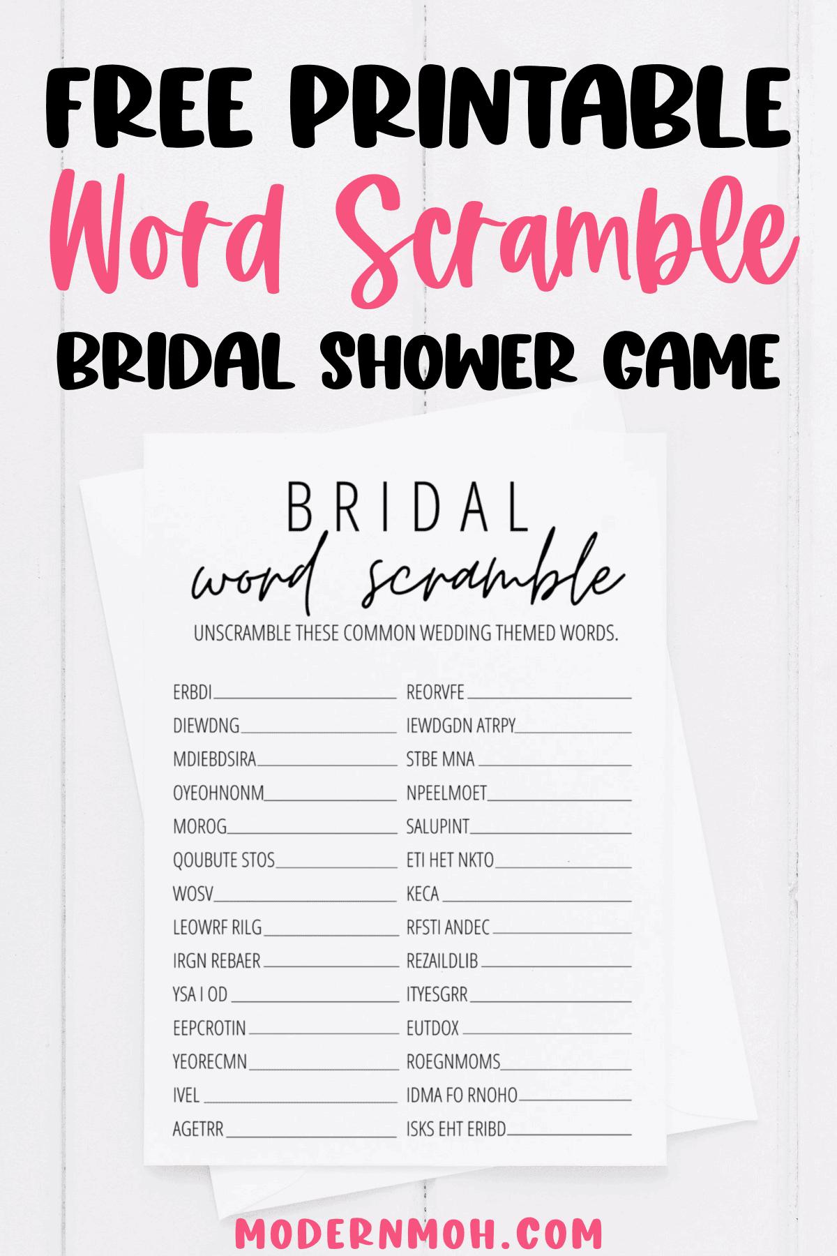 Bridal Shower Word Scramble Free Printable